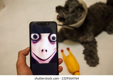 Kuala Lumpur, Malaysia, 3 March 2019 : A Man Holding a cell phone with a devil face with blur dog background indicating dangerous internet game