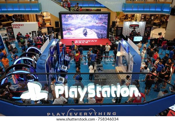Kuala Lumpur, Malaysia -  3 November  2017 :  Video game lovers attending Sony PlayStation exhibition booth at Sunway Pyramid shopping mall on November 3.