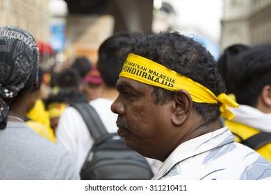 Kuala Lumpur, Malaysia 30 August 2015 : Indian Yellow shirt Supporters of Bersih 4 Rally for Free Fair Elections. Bersih organized Rallies 29/30 August 2015 in cities around Malaysia