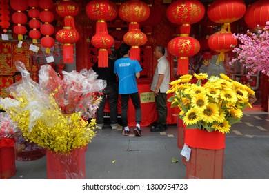 Kuala Lumpur, Malaysia 30 Jan 2019 : Chinese comunity buying Lunar New Year decorations at a street stall in Kuala Lumpur Chinatown.