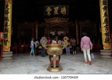 Kuala Lumpur, Malaysia 30 Jan 2019: Tourist visiting Chan She Shu Yuen Clan Ancestral Hall, one of the main Chinese temple located in the city centre area.