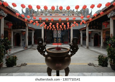 Kuala Lumpur, Malaysia 30 Jan 2019: Praying altar at Chan She Shu Yuen Clan Ancestral Hall, one of the main Chinese temple located in the city centre area.