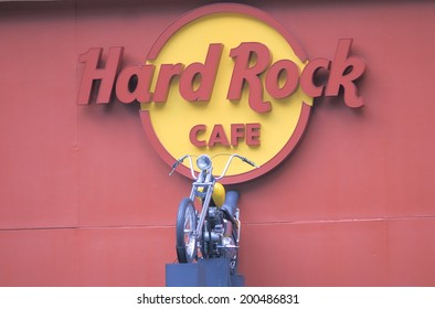 KUALA LUMPUR MALAYSIA - 30 May, 2014: Hard Rock Cafe and motorbike display. Hard Rock Cafe is an American chain of theme restaurant founded in 1971.