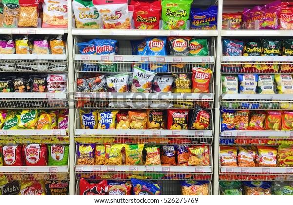Kuala Lumpur, Malaysia 30 Nov. 2016 - Various of snack on shelf