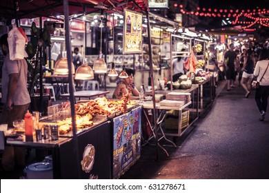 Kuala Lumpur, Malaysia - 30 November, 2015: Street food at Jalan Alor, a popular area at night in the center of the city