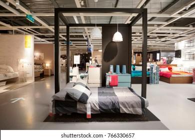 Kuala Lumpur, Malaysia - 30 November 2017: Interior of bedroom showcase, large IKEA store with a wide range of products in The Curve, Damansara, Kuala Lumpur.