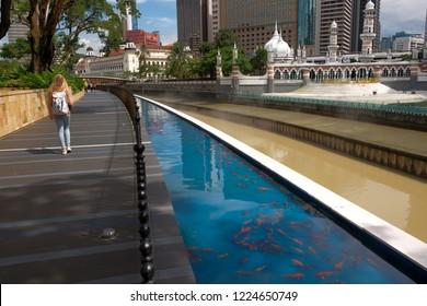 Kuala Lumpur, Malaysia - 30 October : Street view at Jamek Mosque or Masjid Jamek, as part of River of Life projek by City Council of Kuala Lumpur (DBKL).
