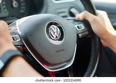 Kuala Lumpur, Malaysia - 30th Jan 2018: Volkswagen New facelift steering. Volkswagen is a German automaker founded in 1937, headquartered in Wolfsburg, Germany. It is the largest automaker worldwide