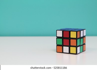 KUALA LUMPUR, MALAYSIA - 30th NOVEMBER 2016: Rubik's cube with blue and white background