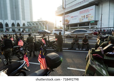 Kuala Lumpur, Malaysia - 31st August 2017. A group of military personnel getting ready before the Malaysia National Day Parade.