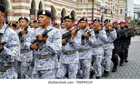 Kuala Lumpur, Malaysia - 31th August 2017: Royal Malaysian Army parade during the Medeka (independence day) celebration.