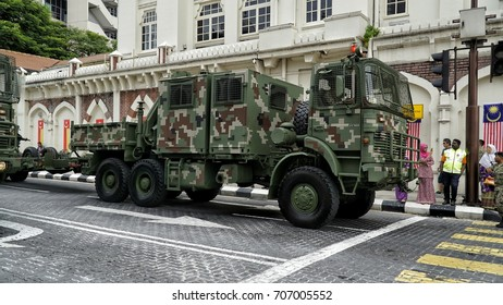 Kuala Lumpur, Malaysia - 31th August 2017: Royal Malaysian Army vehichle parade during the Medeka (independence day) celebration.