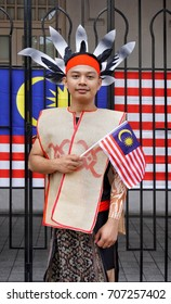 Kuala Lumpur, Malaysia - 31th August 2017: Traditional Malaysian clothing participants during Medeka (independence day) celebration.