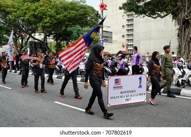 Kuala Lumpur, Malaysia - 31th August 2017 : Sea Games atheletes Parade during the Merdeka (independence day) celebration.