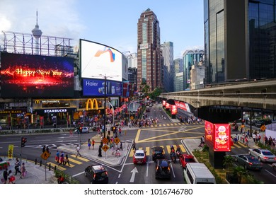 Kuala Lumpur, Malaysia - 4 February 2018: View from monorail station at Bukit Bintang in Kuala Lumpur. The station is a shopping hub in the Kuala Lumpur Golden Triangle commercial district.