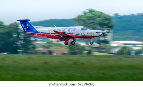 KUALA LUMPUR, MALAYSIA - 5 AUGUST 2017 : VH-FXZ Royal Flying Doctor Service of Australia (Central Section) take off at Sultan Abdul Aziz Shah Airport, Subang.