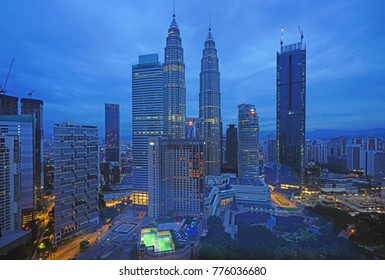 KUALA LUMPUR, MALAYSIA -6 DEC 2017- Night view of the Petronas Twin Towers, located in Kuala Lumpur, Malaysia. They were the tallest building in the world between 1998 and 2004.