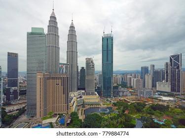 KUALA LUMPUR, MALAYSIA -6 DEC 2017- Day view of the modern Kuala Lumpur skyline including the Petronas Twin Towers from the Hyatt Hotel located in Kuala Lumpur, Malaysia.