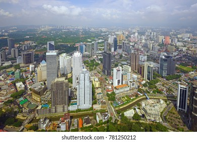 KUALA LUMPUR, MALAYSIA -6 DEC 2017- Day view of the modern Kuala Lumpur skyline from the KL Tower Skycafe located in Kuala Lumpur, Malaysia.