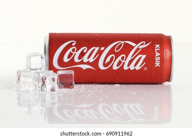 KUALA LUMPUR, MALAYSIA - 6th August 2017: Coca Cola drinks with an ice cubes. Coca Cola drinks are produced and manufactured by The Coca-Cola Company, an American multinational beverage corporation.