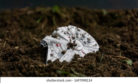 KUALA LUMPUR, MALAYSIA - 7 APRIL 2020: Millennium Falcon model by Takara Tomy, a spaceship featured in Star Wars movies. Hans Solo won this ship from Lando Carlrissian. It's an iconic ship.