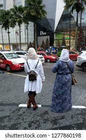 Kuala Lumpur, Malaysia 7 Jan 2019 : Street scene of pedestrian and tourist around Bukit Bintang shopping area in Kuala Lumpur.