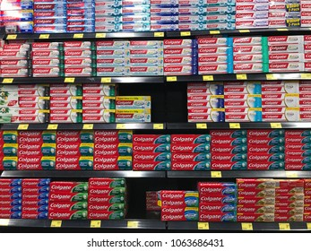 Kuala Lumpur , Malaysia - 8 April 2018 : Various choice of Colgates toothpaste display on the shelf in the supermarket. Colgate is one of the established brand.