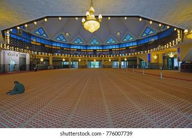 KUALA LUMPUR, MALAYSIA -8 DEC 2017- View of the National Mosque of Malaysia (Masjid Negara) located in Wilayah Persekutuan in Kuala Lumpur, Malaysia.
