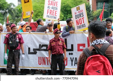 Kuala Lumpur, Malaysia - 8/12/2017 : More than 1,000 Malaysian Muslims have protested outside the US Embassy in Kuala Lumpur against President Donald Trump's decision to recognize Jerusalem as Israel