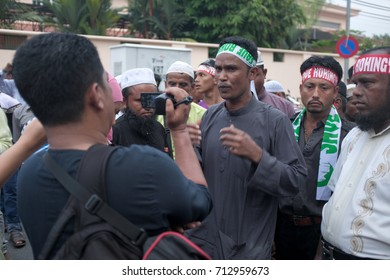 Kuala Lumpur, Malaysia - 8th September 2017 : Dozens of Rohingya gathered outside the Myanmar embassy in Kuala Lumpur to present a protest memo against the persecution of the Rohingya in Myanmar