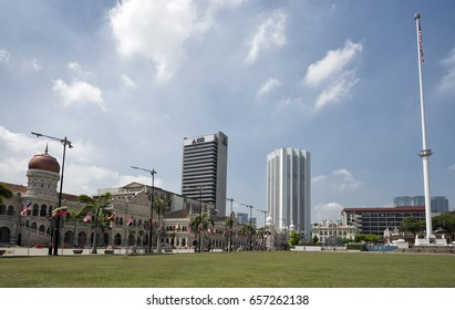 Kuala Lumpur, Malaysia - 9 April, 2017: Merdeka Square. Kuala Lumpur, Malaysia. Merdeka Square is a popular tourist attraction in front of the Sultan Abdul Samad Building.