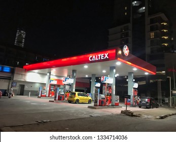 Kuala Lumpur, Malaysia- 9 March 2019. the caltex  petrol pump at Jalan Pudu. experience the effective of caltex petrol technology for your drive.