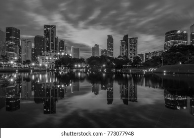 Kuala Lumpur, Malaysia - 9th November 2017 : a great view of city scape during sunrise with reflection and beautiful sky