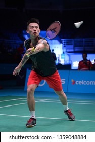 Kuala Lumpur, Malaysia - April 02, 2019 - Lin Dan of China in action during the Badminton Malaysia Open 2019 at Axiata Arena.