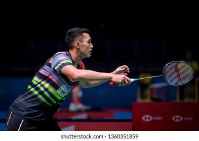 Kuala Lumpur, Malaysia - April 04, 2019 - Jonatan Christie of Indonesia in action during the Badminton Malaysia Open 2019 at Axiata Arena.