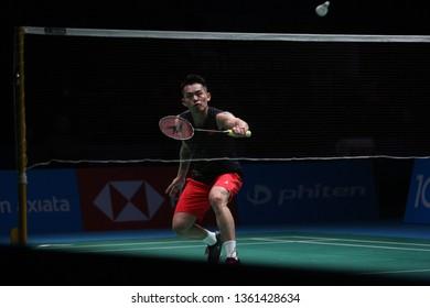 Kuala Lumpur, Malaysia - April 06, 2019 : Lin Dan of China in action during the Badminton Malaysia Open 2019 at Axiata Arena.