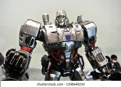 KUALA LUMPUR, MALAYSIA -APRIL 07, 2018: Megatron action figure of fictional character in the Transformers franchise. Antagonist character leader the Decepticons. Display for pubic by collector.