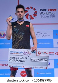 Kuala Lumpur, Malaysia - April 07, 2019 - Lin Dan of China won the men's single during Badminton Malaysia Open 2019 at Axiata Arena.