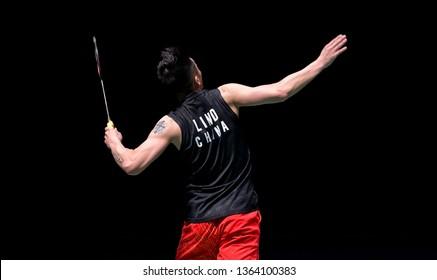 Kuala Lumpur, Malaysia - April 07, 2019 - Lin Dan of China during the Badminton Malaysia Open 2019 at Axiata Arena.