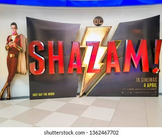 KUALA LUMPUR, MALAYSIA - APRIL 1, 2019: Shazam movie poster, this movie is about a kid can turn into the adult superhero Shazam.