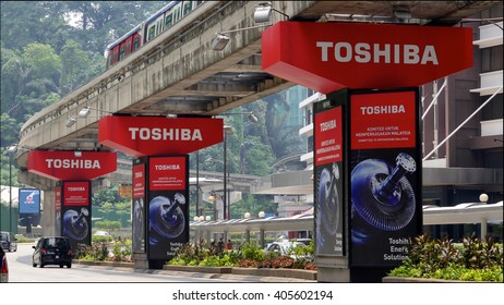KUALA LUMPUR, MALAYSIA - April 10, 2016. Toshiba advertise on pillars bridge in Kuala Lumpur. Toshiba is a Japanese multinational conglomerate. Headquarters in Tokyo and founded since 1875.