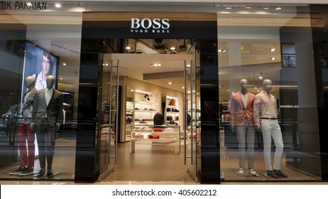 KUALA LUMPUR, MALAYSIA - April 10, 2016. Hugo Boss store inside Suria KLCC. Hugo Boss is a major German luxury fashion company. Founded in Metzingen, Germany since 1924.