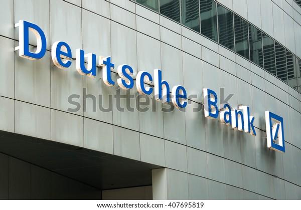 KUALA LUMPUR, MALAYSIA - April 10, 2016. Deutsche Bank company logo. Deutsche bank is a German global banking and financial service company headquartered in Frankfurt Germany.