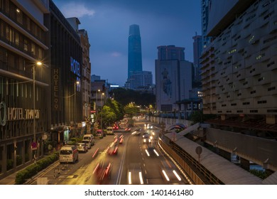 Kuala Lumpur, Malaysia - April 12th, 2019 : Early morning scene, dawn blue hour or sunrise scenic, facade of Pudu Sentral at Jalan Pudu, Kuala Lumpur, one of the main local services bus terminus.