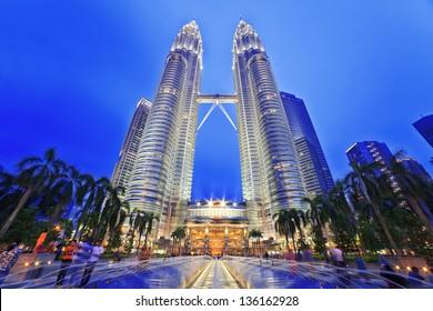 KUALA LUMPUR, MALAYSIA - APRIL 13: Nightscape of Petronas Twin Towers on April 13, 2013 in Kuala Lumpur Malaysia. Petronas Twin Towers were the tallest buildings (452m)  in the world during 1998-2004.