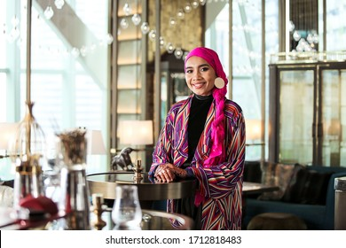 Kuala Lumpur, Malaysia - April 13, 2019 : Beautiful smile of Yuna during her commercial advertisement shooting in a hotel. She is one of Malaysia most talented singer and songwriter too.