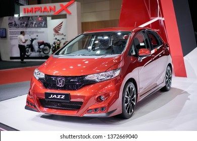 KUALA LUMPUR, MALAYSIA - April 14, 2019 : A view of Honda Jazz car with new design and aerodynamics displayed during Malaysia Autoshow 2019 held at MAEPS Serdang.
