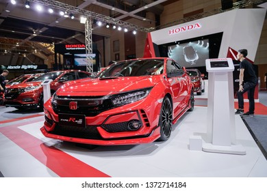KUALA LUMPUR, MALAYSIA - April 14, 2019 : A view of Honda Civic Type R Mugen concept car with new design and aerodynamics  displayed during Malaysia Autoshow 2019 held at MAEPS Serdang.