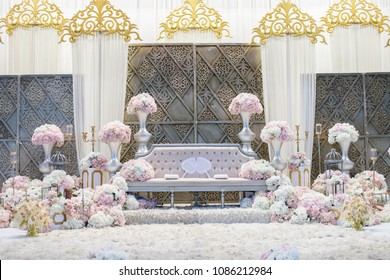 Kuala Lumpur, Malaysia - April 15, 2018: The pelamin or wedding dais is specially created in a traditional Malay wedding
