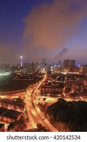KUALA LUMPUR, MALAYSIA - APRIL 15: Stunning vibrant City of Kuala Lumpur on APRIL 15, 2016 in Malaysia. View of Kuala Lumpur in the morning sunrise.